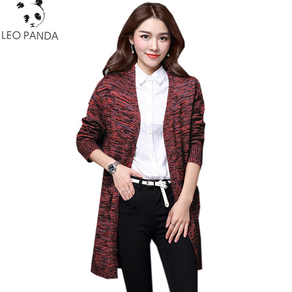 2018 New Cashmere Knitted Blends Material Women Cardigans Sweater Casual Patchwork Plus Size M-3XL Woman Long Sweaters HF429