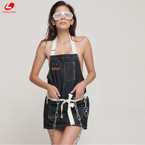 Lifeng home Denim apron Jeans sexy apron with pocket Cocking cleaning woman and man Aprons strap barista barber black blue