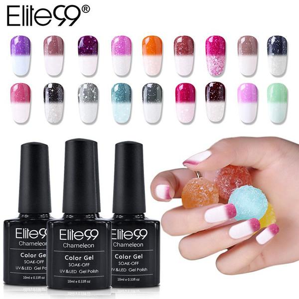 Elite99 10ml Snowy Thermal Chameleon Gel Temperature Change Color Gel Polish DIY Nail Art Mood Color Changing UV Varnish