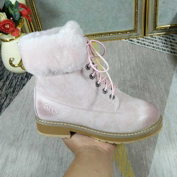 Winter Shoes Ankle Snow Boots for Women Lace-Up Style VGG Vintage Platform Square Heels Keep Warm Fur Shoes Casual Round Toe Lady Boot