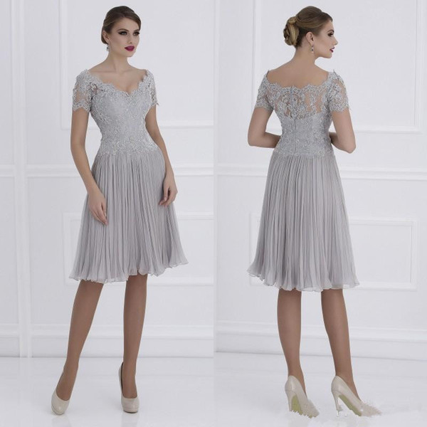 Knee Length Silver A-Line Mother of the Bride Dresses Chiffon Lace Applique Short Formal Mother's Dress Custom Made