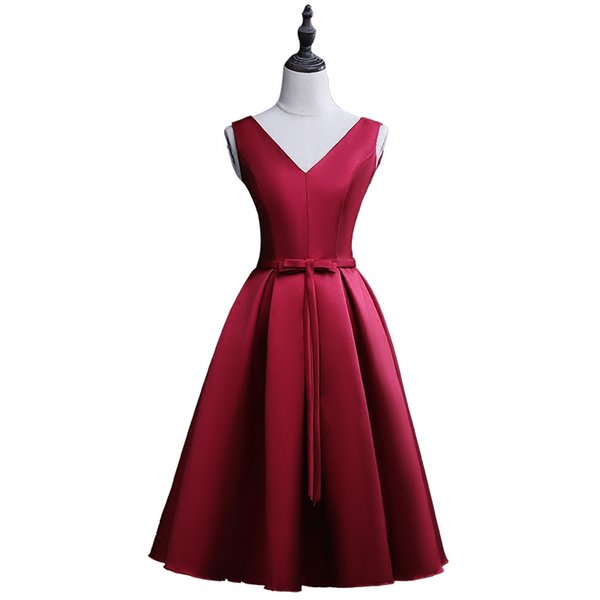 Satin Ball Gown V Neck Short Bridesmaid Dresses Burgundy 2018 Knee Length Party Dresses with Bow 100% Real Photo