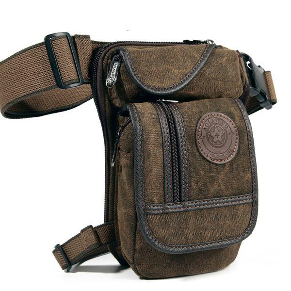 New Men 'S Canvas Drop Leg Bag Waist Fanny Pack Belt Hip Bum Military Travel Motorcycle Multi -Purpose Messenger Shoulder Bags