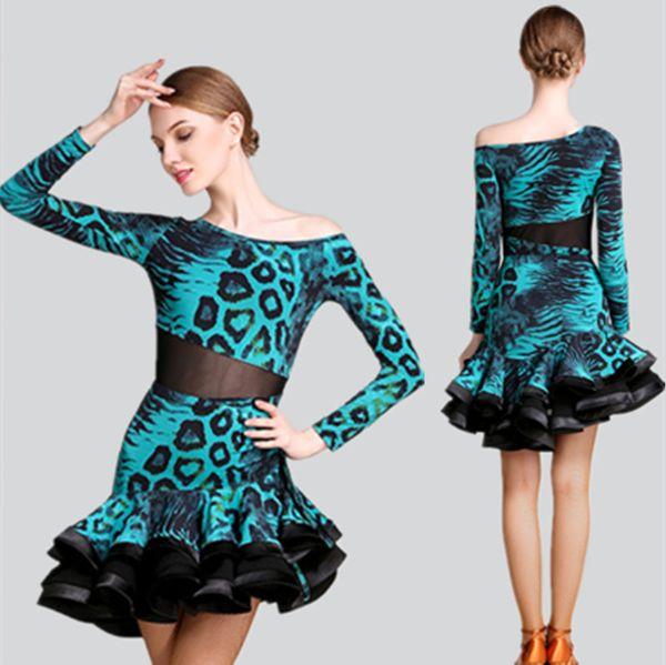 Hot Sale Adult/Girls Latin Dance Dress Salsa Tango Chacha Ballroom Competition practice Dance Dress Long Sleeve Leopard Skirt Suit 3Color