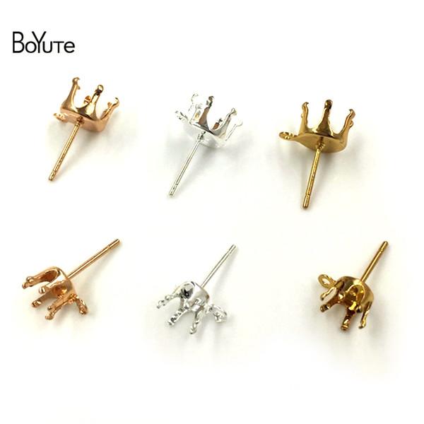 BoYuTe 200Pcs Fit 6MM 8MM Zircon Stone Stud Earrings Base with Loop Silver Gold Earring Fingings Diy Jewelry Accessories