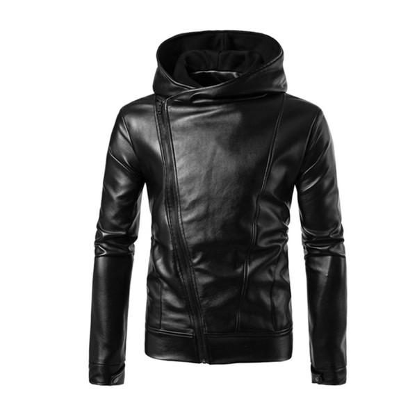 Punk Style Black Leather Jacket Hoodie Zipper Type Men Casual Slim Fit Motorcycle Jacket Fashion Plus Size Male Hooded Coat 2017