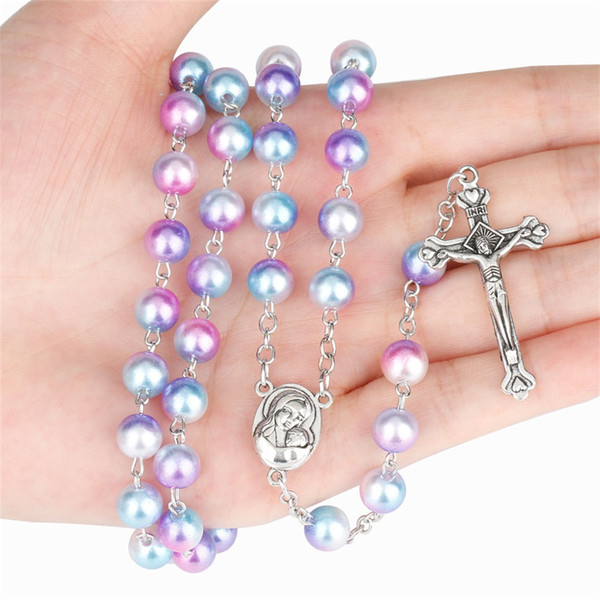 12 Colors Rosary 8mm Round Pearl Beads Catholic Rosary Necklace With Holy Soil Charm Crucifix Prayer Religious Jewelry