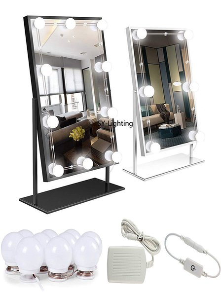 Adjustable 10-LED Decorated Touch Bathroom Dressing Room makeup Mirror Light Bulb Lamp White Lighting