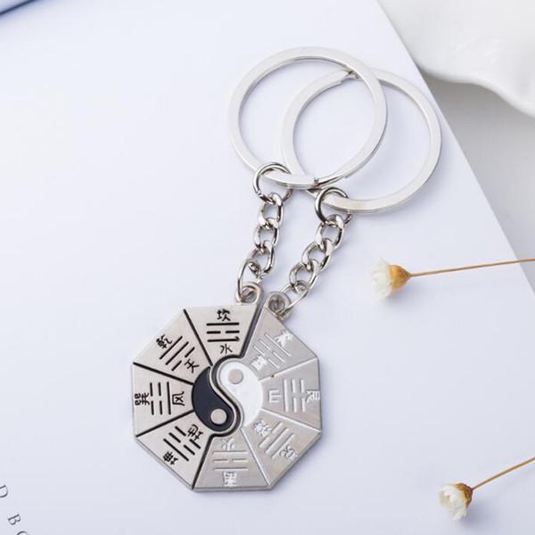 Vintage Silber Yin Yang Tai Chi Bagua Karte Schlüsselanhänger Ring für Schlüssel Autotasche Schlüsselanhänger Handtasche Paar Schlüsselanhänger Geschenke Accessoires