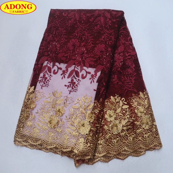ADONG Gold Hollow Lace Trim Patched Embroider Flower French Tulle Lace Fabric with Stones Beads Burgundy African Lace Fabric