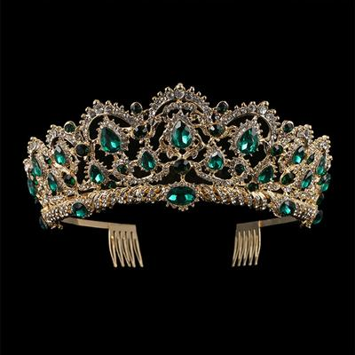 European Drop Green Red Crystal Tiaras Vintage Gold Rhinestone Pageant Crowns With Comb Baroque Luxury Wedding Hair Accessories