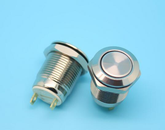 Sem bloqueio auto reset normalmente aberto à prova d 'água pressione o ponto, mova 12mm cabeça chata interruptor de botão de metal