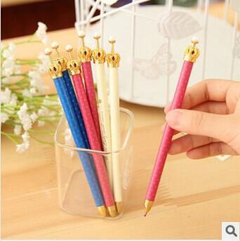 Exquisito bolígrafo lindo corona de metal 0.5mm bolígrafos escritura firma bolígrafo papelería escolar suministros de oficina regalo de niña