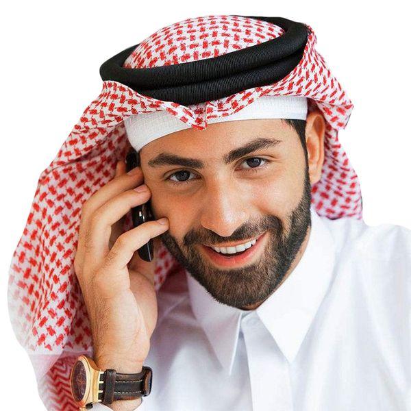 best selling Arabic Muslim Hijab for Men Plaids Turban Cotton Scarf Prayer Hats Muslim Clothing Wrapped Head Saudi Arabian Headscarf Abaya Dubai UAE