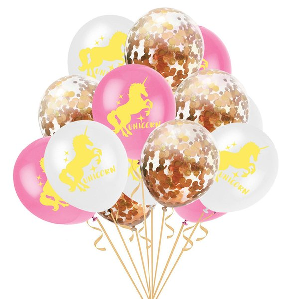 15pcs/set unicorn party supplies balloons 12 inch inflatable bubble latex balloon gold paper filled transparent ballons decorations
