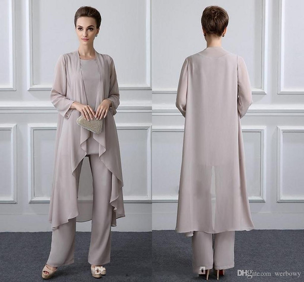 Simple Elegant Mother Of The Bride Pant Suits With Jacket Chiffon Beach Wedding Guest Groom Dresses Cheap Mothers Outfit Long Garment