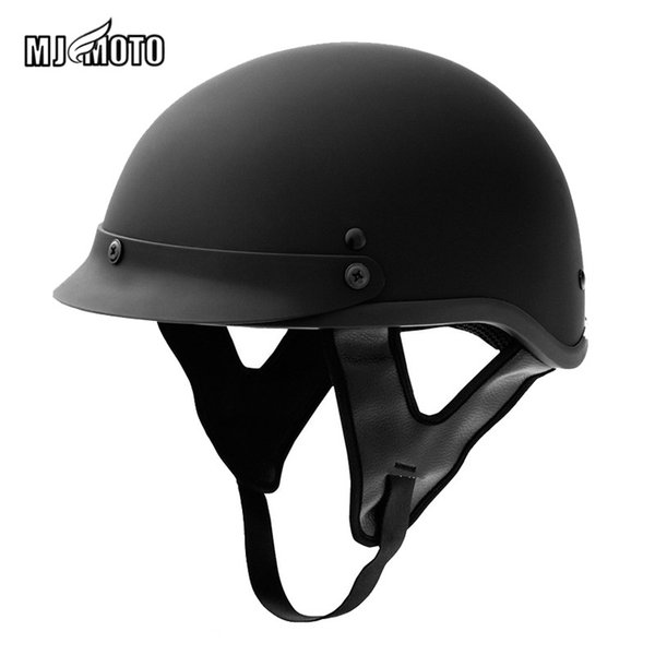 Retro Motorcycle Helmet Harley Style Motorbike Half Helmets Classic Off Road Casco De Motocicleta Men's Black DOT Approved