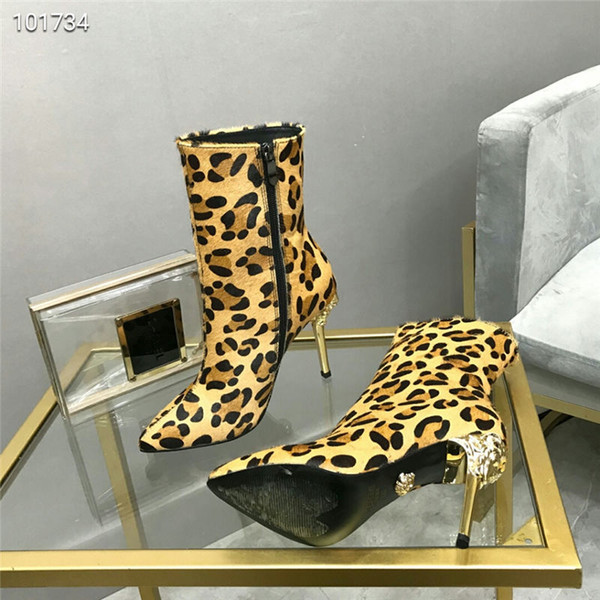 Designer high-end luxury Medusa brand women's boots new Martin boots fashion with designer high quality women's high heels (with box)