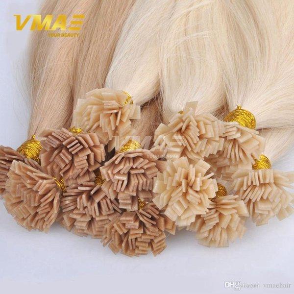 Extensiones de cabello virgen Extremidad plana recta Keratina Fusión Extensiones de cabello humano Pre pelo consolidado Extensiones de VMAE