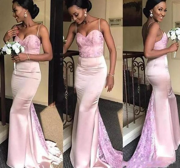 Pale Pink Mermaid Bridesmaids Dresses For African Summer Garden Weddings 2018 Appliques Backless Spaghetti Straps Long Wedding Guest Gowns