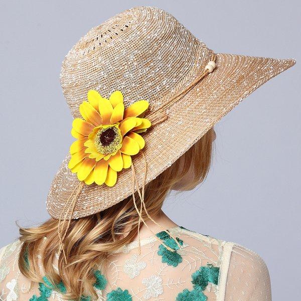 Flor de Bohemia de ala ancha plegable Mujeres Iglesia Sombrero Big Straw Viseras de playa Elegante Derby de Kentucky Lady Caps Bucket Cap Summer Sun sombreros