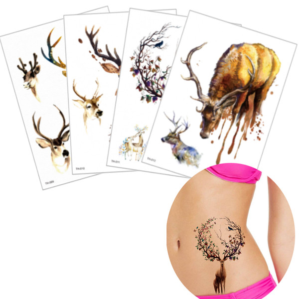 Watercolor Elk Design Temporary Tattoos Sticker for Women Men Body Art Water Transfer Decal Fake Flower Arm Leg Tattoo Waterproof Party Gift