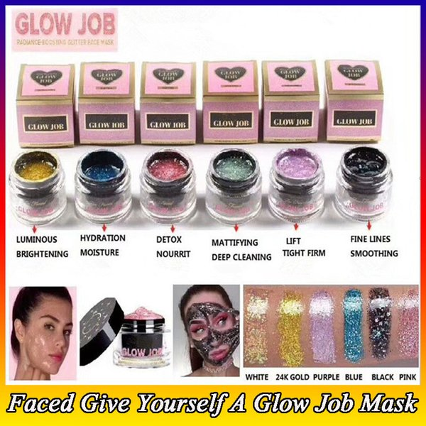 GLOW JOB 6 colors Radiance Boosting give yourself a glow job mask Glitter face mask soft facial mask