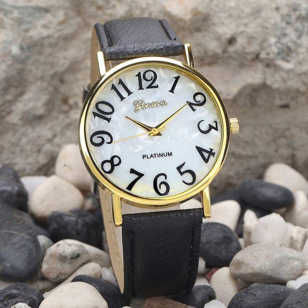 Big Number Women Retro Digital Dial Leather Band Quartz Analog Wrist Watch Black White Watches Elegant Ladies Dress Relogios