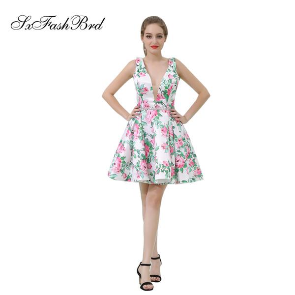 Elegant Girls Dress V Neck A Line Mini Short Print Satin Party Formal Evening Dresses for Women Prom Dress Gowns