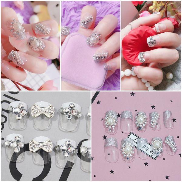 24pcs/set Bride Fake Nails Glittering French Acrylic Nails False Nails Artificial Nail Art Tips Middle-long Full Nail
