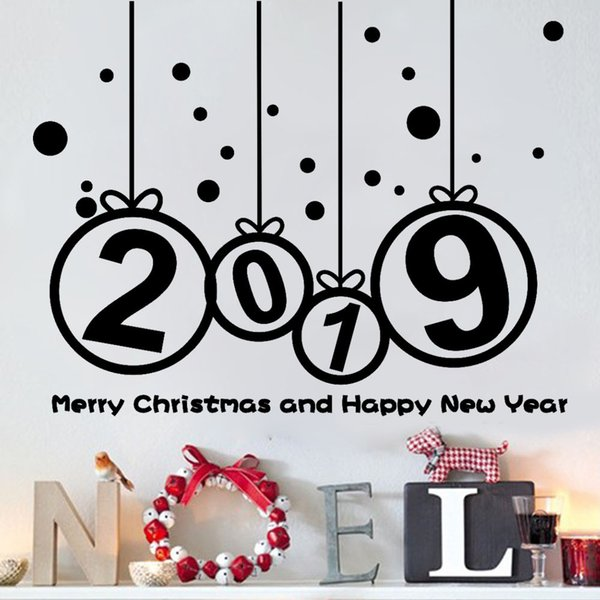 Happy New Year 2019 Merry Christmas Wall Sticker Home Shop Windows Decals nordic home wall decorations living room Decor