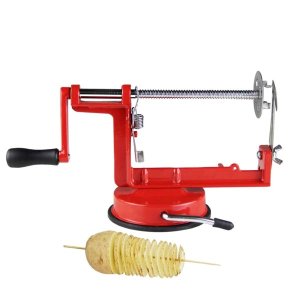 Zorasun Manuelle Rote Edelstahl Spiral Kartoffel Slicer Französisch Fry Cutter Kartoffelchips Gebratene Maschine Diy Küchenwerkzeuge