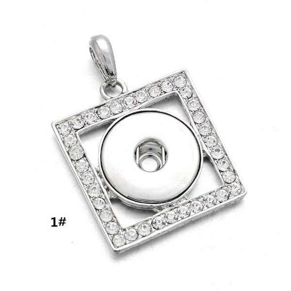 Noossa Snap Button Necklace Square Heart Shaped with Crystal Full CZ Diamond Pendant Fashion Jewelry en venta