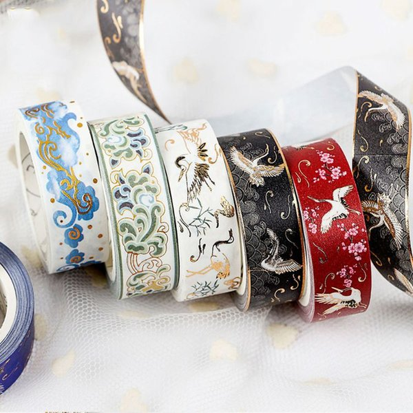top popular Masking Gold Foil Glitter Washi Tape Scrapbook Decorative Paper Adhesive Sticker 2016 2021