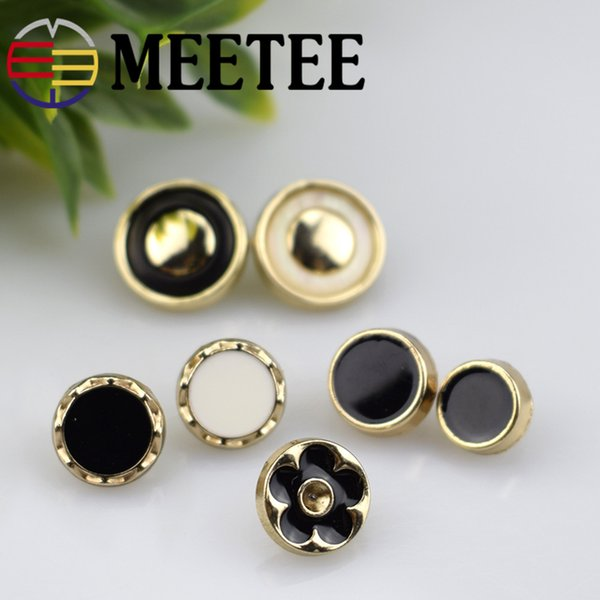 MEETEE White Black 13mm Sewing Alloy button round metal buttons for shirts dress jacket sweaters DIY bags Accessories C2-41
