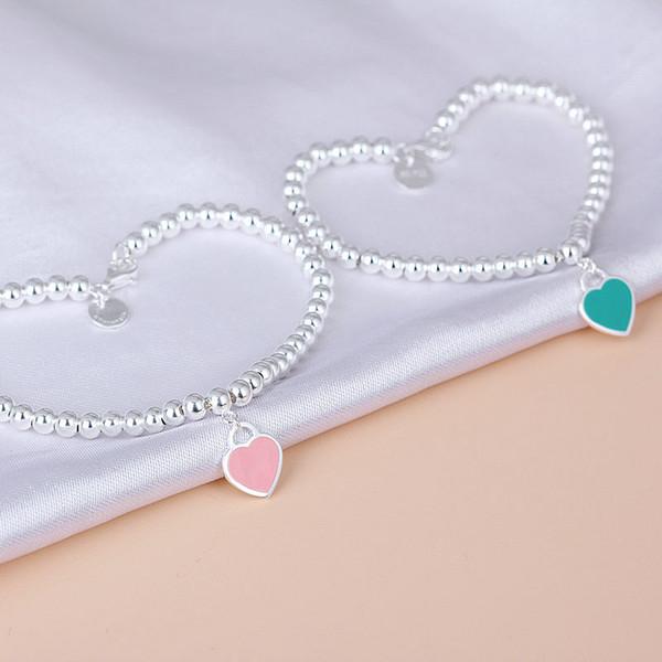 Feine herz liebe armband armreif edelstahl blau rosa anhänger charme einfache tdesign für frauen box eleganten schmuck