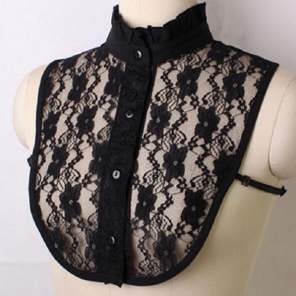 Shirt Fake Collar White & Black Tie Vintage Detachable False Collar Lapel Blouse Top Women Clothes Accessories lace