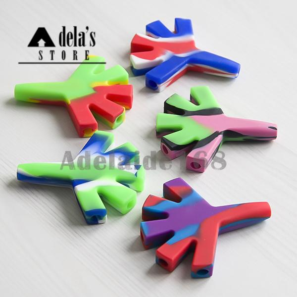 Mini Silicone Hand Clap Pipe Cigarette Filter Dry Herb Tobacco Silicone Pipes Cigarette Pyrex Colorful Smoking Pipes Hand Spoon Bongs 470