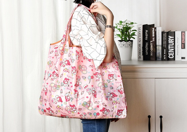 50pcs DHL Shipping Foldable Waterproof Storage Eco Reusable Polyester Cartoon Shopping Tote Bags Quality shopping bags Carrier