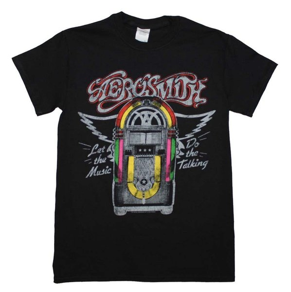 Men's Aerosmith Juke Box T-Shirt Officially Licensed T Shirt Discount 100 % Cotton T Shirt for Men'S Printing Top Tee