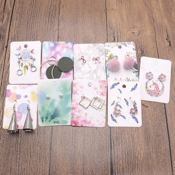 2018 New 5x7cm Colorful Paper Necklace&Earring Cards Charm Jewelry Display Card DIY Can Be Customized Logo 200pcs/lot