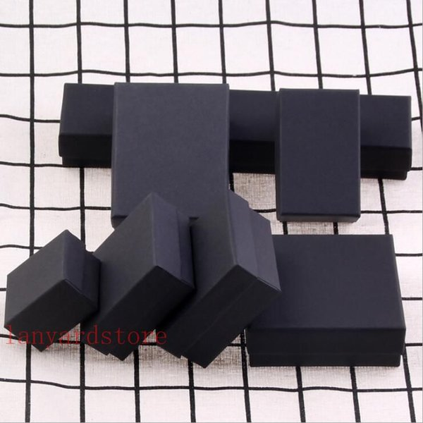Yüksek dereceli siyah Kraft Mücevher Kutusu Kolye Bilezik Yüzük Küpe Kutusu Hediye Kutusu özelleştirilebilir 10 boyutu opsiyonel