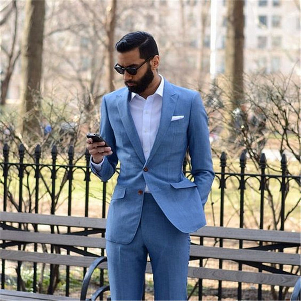 2018 New Tailor Made Light Blue Men Suits 2pieces(Jacket+Pants+Tie) Slim Fit Groom Prom Tuxedo Summer Style Blazer For Men