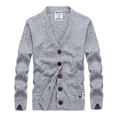 2018 Novo Inverno de Alta Qualidade dos homens Cardigan Com Decote Em V Camisola Cor Sólida Pullover Jaqueta Fina Para Homens Simples Hoodies Cinza Bege Plus Size XXXL