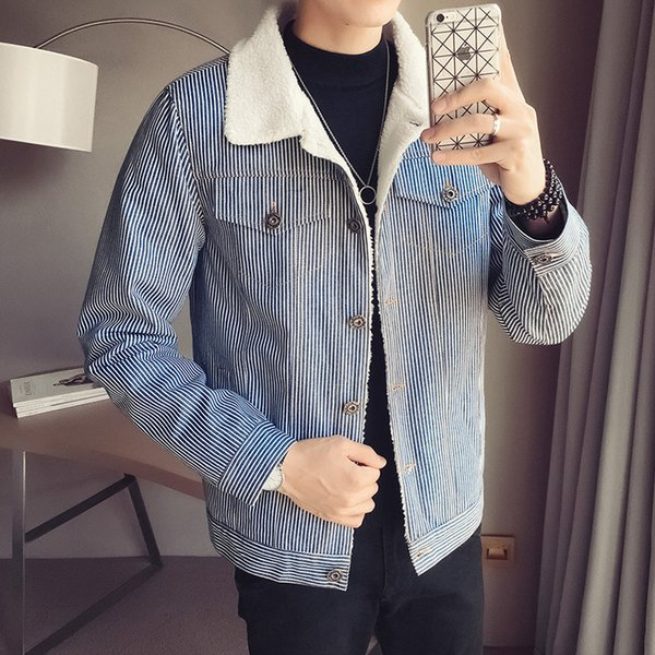 Winter New Jacket Men Wool Thick Warm Cotton Coat Fashion Stripes Slim Fit Male Clothes Casual Wild Pilot Bomber Outwear Man
