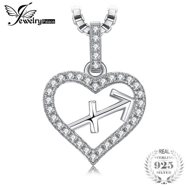 JewelryPalace Constelación del Zodiaco Corazón de Sagitario Amor Cubic Zirconia Collar Colgante de plata de ley 925 Cadena de 45 cm