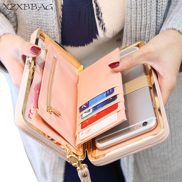 XZXBBAG Fashion Women Bowknot Long Wallets Big Capacity Female Card Holders Cellphone Pocket Girl Coin Purse Money Bag Wristlet