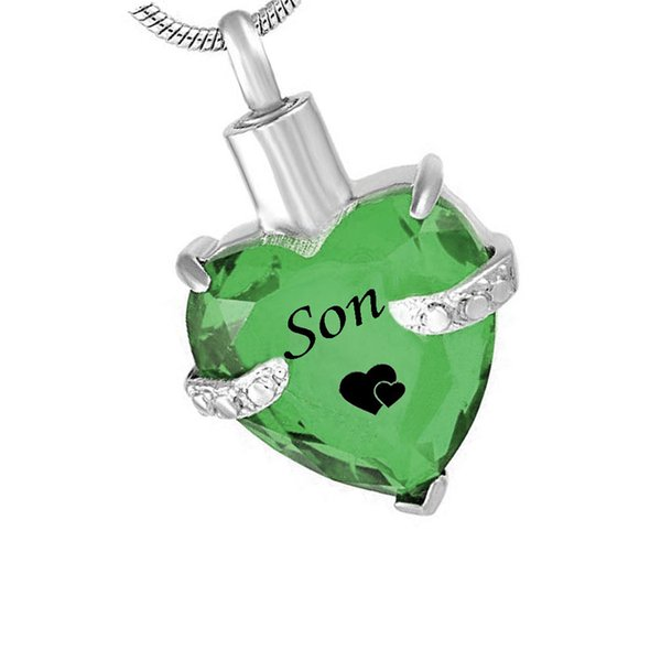 Fashion jewelry son Heart stainless steel Cremation Urn Necklace for Ashes Urn Jewelry Memorial Pendant with Fill Kit