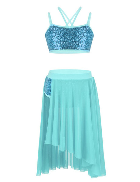 MSemis Kids Girls Latin Dress Outfit Sequins Spaghetti Straps Crop Top with Tulle Skirt Set for Latin Lyrical Ballet Dance Dress