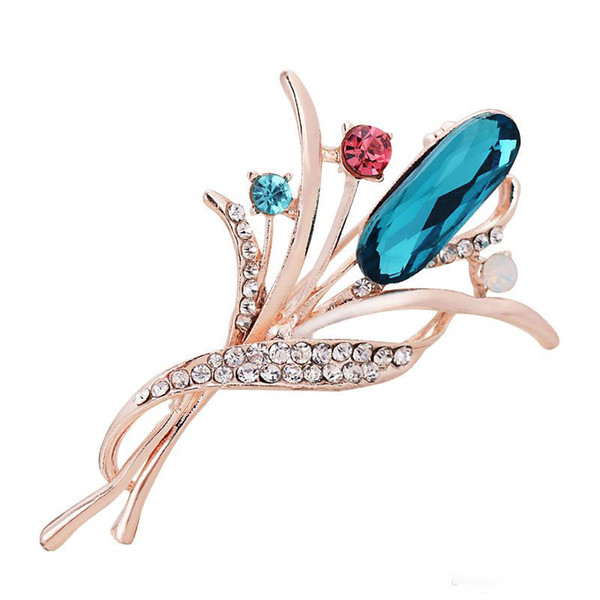 Bulk Lots Elegant 2 Styles Crystal Floral Pin Brooch Designer Brooches Badge Metal Enamel Pin Broche Women Luxury Jewelry Party Supplies